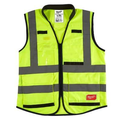 Performance Large/X-Large Yellow Class 2 High Visibility Safety Vest with 15 Pockets