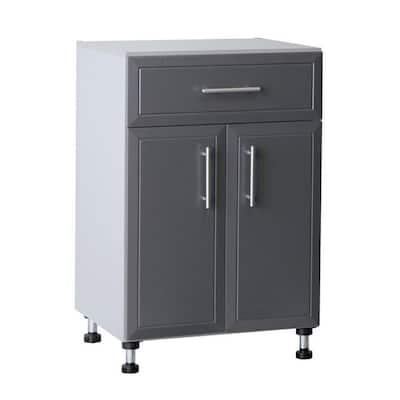 Pro Garage 36.5 in. H x 24 in. W x 20 in. D Gray Laminate 1-Drawer 2 Door Base Cabinet