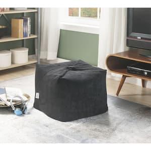 Magic Pouf Black Microplush Bean Bag Chair Convertible Ottoman/Floor Pillow