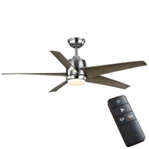 Mena 54 in. White Color Changing Integrated LED Indoor/Outdoor Polished Nickel Ceiling Fan with Light Kit and Remote
