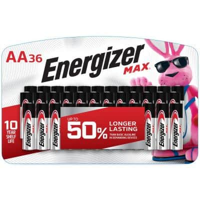 Max AA Batteries (36 Pack), Double A Alkaline Batteries