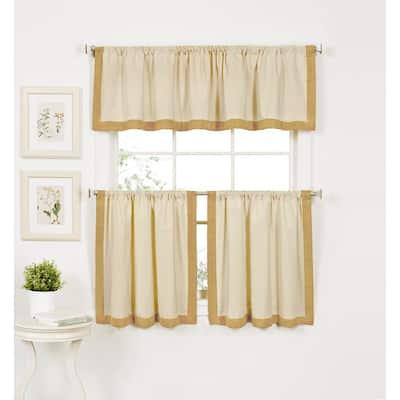 Gold Border Rod Pocket Room Darkening Curtain - 30 in. W x 36 in. L  (Set of 2)