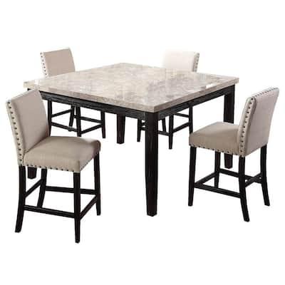 Shantanu 5-piece Antique Black Square Counter Height Dining Set