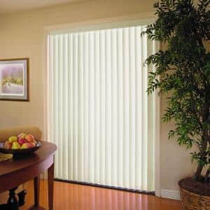Crown Alabaster Room Darkening 3.5 in. Vertical Blind Kit for Sliding Door or Window - 104 in. W x 84 in. L
