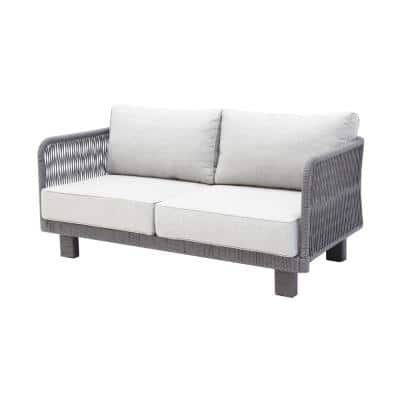 Cancun 1-Piece Metal Outdoor Loveseat with Olefin Light Grey Cushions