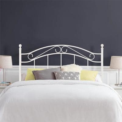 Willys White Metal Full/Queen Headboard with Delicate Detailing