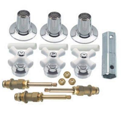 Porcelain Cross-Handle Bathtub and Shower Faucet Rebuild Kit
