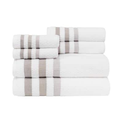 Crinkle Towel Set in White Neutral (6-Piece)