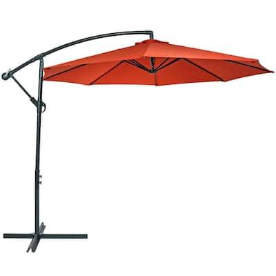 10 ft. Steel Offset Cantilever Patio Umbrella in Burnt Orange
