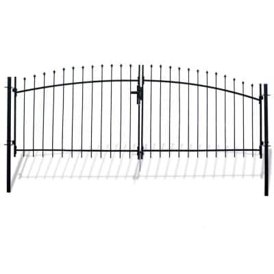 Athens Style 11 ft. x 5 ft. Black Steel DIY Dual Swing Driveway Fence Gate