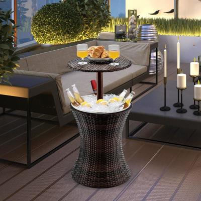 Rattan Style Outdoor Patio Cooler Table of Iron Frame Ice Bucket Deck Pool Party