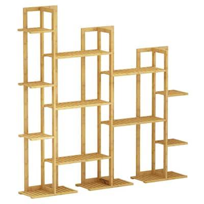 7-Tier Indoor Outdoor Wooden Rack Bamboo Shelf Flower Pot Plant Stand
