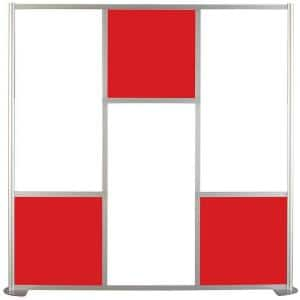 75-5/8 in. x 75-3/8 in. uDivide Room Divider Satin Clear Frame with White and Red 6-Panels