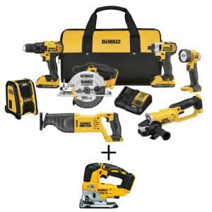 20-Volt MAX Cordless Combo Kit (7-Tool) with (2) 20-Volt 2.0Ah Batteries & Brushless Jigsaw