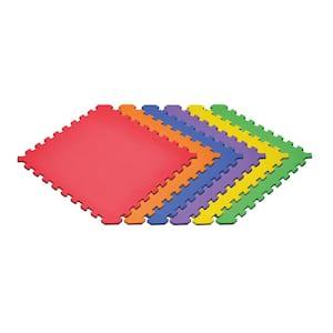 Black/Rainbow 24 in. x 24 in. x 0.51 in. Foam Interlocking Reversible Floor Mat (6-Pack)