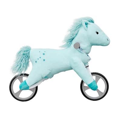 Kid's Animal Plush Toddler Training Balance Bike Ride On Toy, Blue Horse
