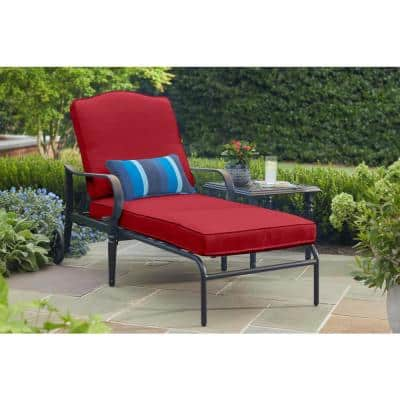 Laurel Oaks Brown Steel Outdoor Patio Chaise Lounge with CushionGuard Chili Red Cushions