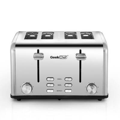 1650-Watt 4-Slice Stainless Steel Long Slot Toaster