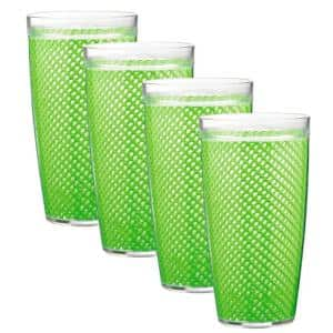 Fishnet 22 oz. Lime Green Insulated Drinkware (Set of 4)