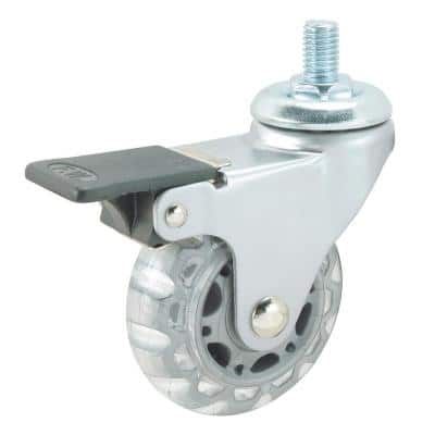 2-17/32 in. Clear White Swivel with Brake Threaded Stem Caster, 88.2 lb. Load Rating