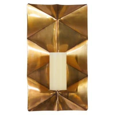 Gold Stainless Steel Contemporary Candle Wall Sconce