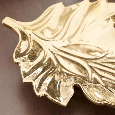 Gold Ceramic Decorative Leaf Tray