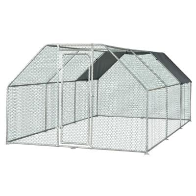9 ft. W x 18 ft. Outdoor Heavy-Duty Galvanized Steel Chicken Coop and Poultry Cage Canopy and Shelter Enclosure