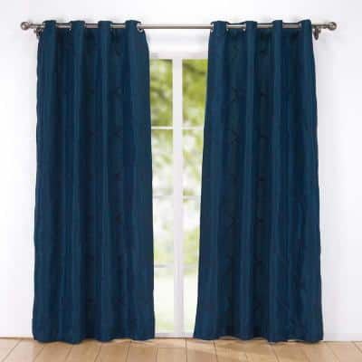 2-Pack Embroidered Rhombic Pattern Window Curtains 54 in. x 84 in. in Navy