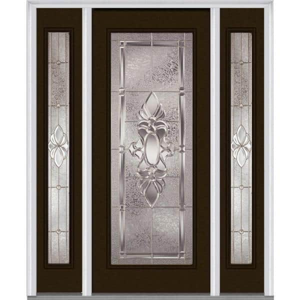 Mmi Door 68 5 In X 81 75 In Heirlooms Right Hand Inswing Full Lite Decorative Painted Steel Prehung Front Door With Sidelites Z014769r The Home Depot
