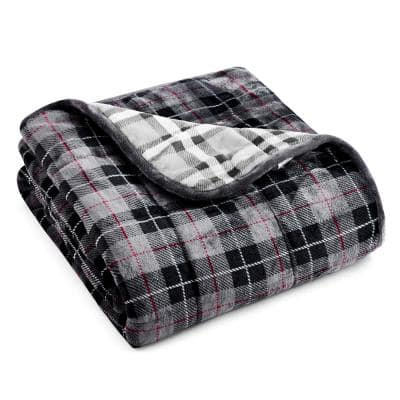 Light Grey Plaid Shiny Velvet to Shiny Velvet 50 in. x 60 in. x 15 lbs. Weighted Throw Blanket