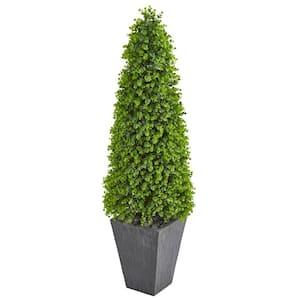 Indoor/Outdoor 57 Eucalyptus Topiary Artificial Tree in Slate Planter