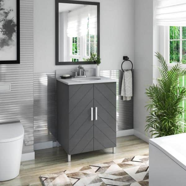 Twin Star Home 24 In Bath Vanity In Antique Gray Contemporary Chevron Doors With Vanity Top In White Stone With Basin And Metal Legs 24bv536 Pg22 The Home Depot