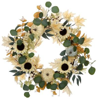 23 in. Harvest Ivory Sunflowers Wreath
