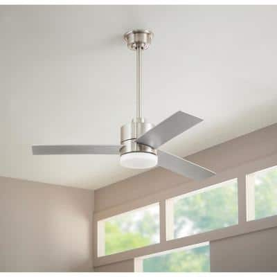 Madison 52 in. Integrated LED Brushed Nickel Ceiling Fan with Light and Remote Control with Color Changing Technology