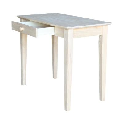 36 in. Rectangular Unfinished 1 Drawer Writing Desk with Solid Wood Material
