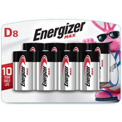 MAX D Alkaline Battery (8-Pack)