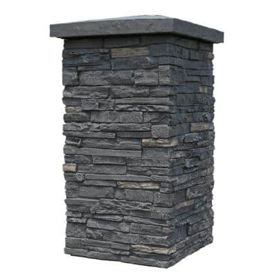 Slatestone Midnight Ash 30 in. x 16 in. Faux Polyurethane Stone Column Wrap (4-Piece)