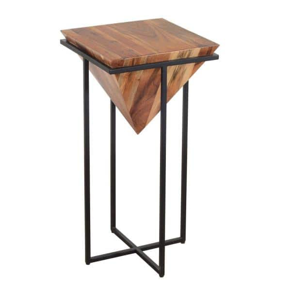 The Urban Port 30 in. Brown and Black Pyramid Shape Wooden Side