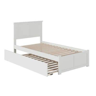 Madison Twin Extra Long Bed with Footboard and Twin Extra Long Trundle in White