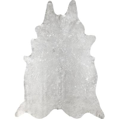 Dorian Cowhide Metallic Beige 5 ft. x 7 ft.  Shaped Rug