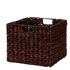 11 in. H x 13 in. W x 13 in. D Brown Wicker Cube Storage Bin