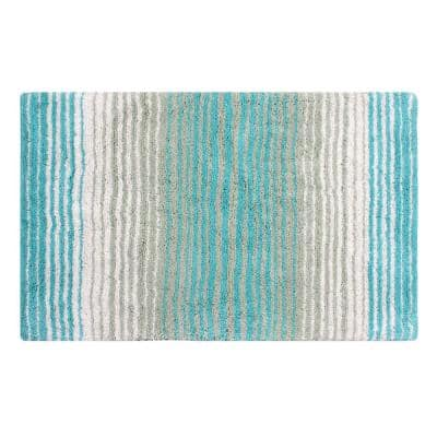 Gradiation Rug Collection Turquoise 24 in. x 40 in. Cotton Bath Rug