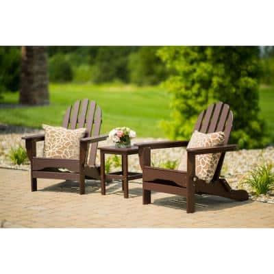 Icon Chocolate Recycled Plastic Folding Adirondack Chair with Side Table (2-Pack)