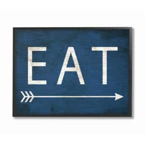 16 in. x 20 in. ''Eat With Arrow Blue'' by Daphne Polselli Wood Framed Wall Art