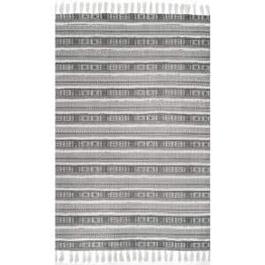 Rasmus Greek Tribal Bands Gray 8 ft. x 10 ft. Area Rug