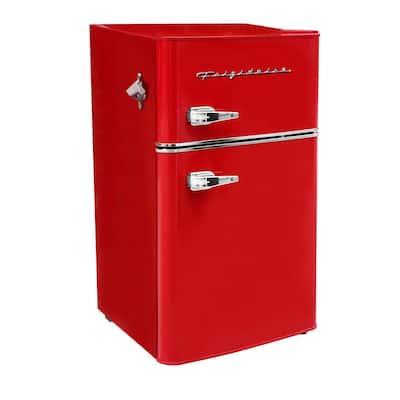 3.2 cu. ft. 2 Door Retro Mini Fridge in Red