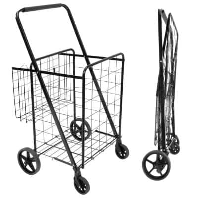 Steel 4-Wheel Rolling Utility Shopping Cart with Basket in Black