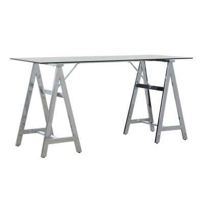 Brecken 57.87 in. Rectangle Chrome Metal No Drawers Computer Desk with Glass Top
