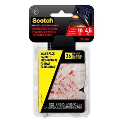 Scotch 1 in. x 1 in. Clear Extreme Mounting Squares Value Pack (36 Squares per Pack)