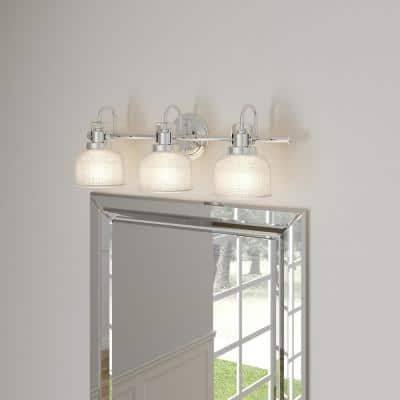 Archie Collection 3-Light Polished Chrome Clear Double Prismatic Glass Coastal Bath Vanity Light